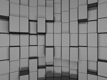 Abstract Silver Metal Cubes Background. 3d Render Illustration Royalty Free Stock Photos