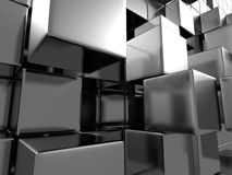 Abstract Silver Metal Cubes Background Royalty Free Stock Photos
