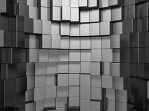 Abstract Silver Metal Cubes Background. 3d Render Illustration Royalty Free Stock Photography