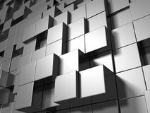Abstract Silver Metal Cubes Background. 3d Render Illustration Stock Images