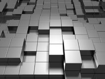 Abstract Silver Metal Cubes Background. 3d Render Illustration Royalty Free Stock Photo