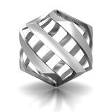 Abstract Silver Metallic Twisted Shape Icon Stock Images