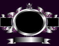 Abstract Silver and Purple Floral Vector Design Stock Images