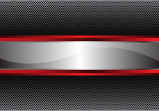 Abstract silver red banner on gray metal circle texture pattern design modern background vector Royalty Free Stock Photo