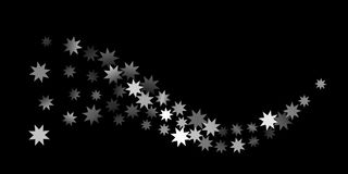 Abstract silver star of confetti. Falling starry background. Random stars shine on a black background. The dark sky with shining stars.  Suitable for your Stock Images