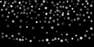 Abstract silver star of confetti. Falling starry background. Random stars shine on a black background. The dark sky with shining stars. Suitable for your vector illustration