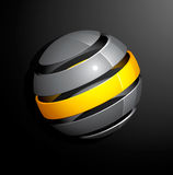 Abstract silver yellow sphere Royalty Free Stock Photography