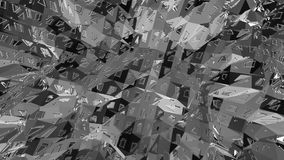 Abstract simple black and white low poly waving 3D surface as clear backdrop. Grey geometric vibrating environment or royalty free illustration