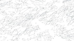 Abstract simple black and white waving 3D grid or mesh as transforming environment. Grey geometric vibrating environment stock video