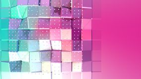 Abstract simple blue pink low poly 3D surface and flying white crystals as space background. Soft geometric low poly stock illustration