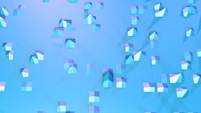 Abstract simple blue violet low poly 3D surface as animated environment. Soft geometric low poly motion background of vector illustration