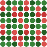 Abstract simple green red circles seamless pattern on white Royalty Free Stock Image