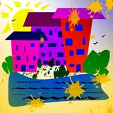 Abstract simple image. Sunny day, houses near a reservoir, plants. royalty free illustration
