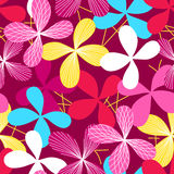 Abstract simple line floral seamless pattern Stock Image