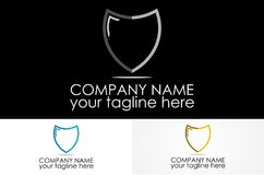 Shield mono crome logo. Abstract simple logo design eps Royalty Free Stock Photo