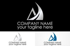 Triangle wing metalic logo. Abstract simple logo design eps Royalty Free Stock Images