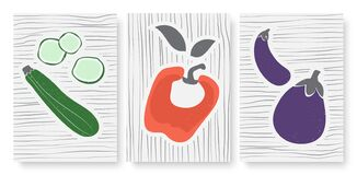 Free Abstract Simple Minimal Vegetables Set, Template Background For Social Media Stories Stock Photo - 213654910
