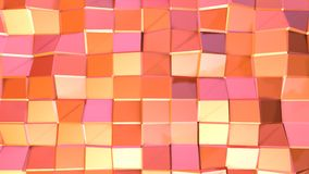 Abstract simple pink orange low poly 3D surface as futuristic background. Soft geometric low poly motion background of royalty free illustration