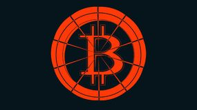 Abstract simple red bitcoin icon with a cobweb on a dark blue background. The concept: the collapse of the crypto currency, the fa. Ll of bitcoin. Vector Stock Photography