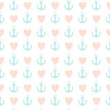 Abstract Simple Seamless Pattern Background with Anchor and Heart Symbol. Vector Illustration. Eps10 Vector Illustration