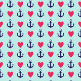 Abstract Simple Seamless Pattern Background with Anchor and Heart Symbol. Vector Illustration. Eps10 Royalty Free Illustration