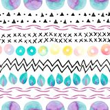 Abstract simple seamless pattern: watercolor geometric, natural elements, ink doodles. Modern art background. Hand painted illustration for design of fabric Royalty Free Stock Images