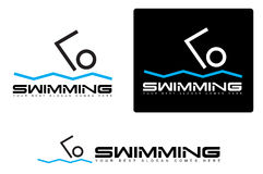 Abstract simple swimming logo. Abstract swimming logo set with swimmer shape element Stock Photo
