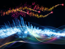 Abstract sine wave. Interplay of sine waves, musical notes, lights and abstract design elements on the subject of music, sound, entertainment, data visualization Stock Photo