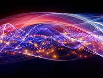 Abstract sine waves. Interplay of overlapping abstract waves, colors and lights on the subject of technology, entertainment, communications, sound and audio stock images
