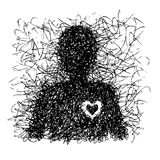 Abstract single man with heart Royalty Free Stock Image