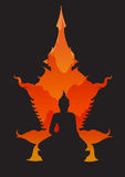 Abstract sitting Buddha silhouette Royalty Free Stock Images