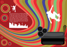 Abstract skateboard design. With design elements and sound speakers Royalty Free Stock Photo