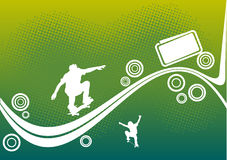 Abstract skateboard design. On green dotted background Royalty Free Stock Images