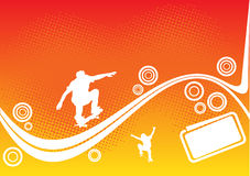 Abstract skateboard design. On orange dotted background Royalty Free Stock Photography