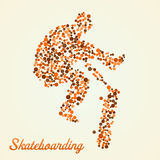 Abstract skateboarder in jump. Abstract skateboarder silhouette from dots in jump vector illustration