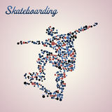 Abstract skateboarder in jump. Abstract skateboarder silhouette from dots in jump royalty free illustration