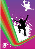 Abstract skateboarding. With silhouettes of skateboarders Stock Photo