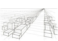 Abstract sketch city landscape perspective Royalty Free Stock Images