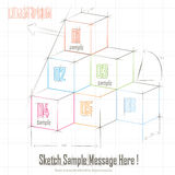 Abstract Sketch Cube. Abstract  3d sketch cube colorful background chart Stock Photography