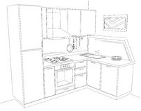 Abstract sketch 3d illustration of modern corner kitchen interior Stock Photo