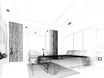 Abstract sketch design of bedroom Stock Photo