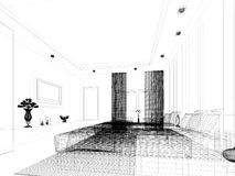 Abstract sketch design of bedroom Royalty Free Stock Photo