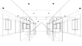 Abstract sketch design of exhibition room ,interior museum Royalty Free Stock Photos
