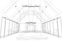 Abstract sketch design of exhibition room ,interior museum. Abstract sketch design of interior exhibition room ,museum stock illustration