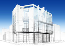 Abstract sketch design of exterior building Royalty Free Stock Images