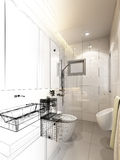 Abstract sketch design of interior bathroom Stock Images
