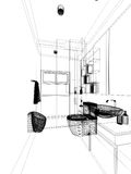 Abstract sketch design of interior bathroom Stock Photography