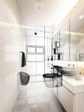 Abstract sketch design of interior bathroom Royalty Free Stock Photo