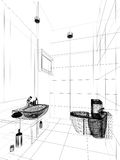 Abstract sketch design of interior bathroom Royalty Free Stock Images