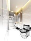 Abstract sketch design of interior bathroom Stock Photos